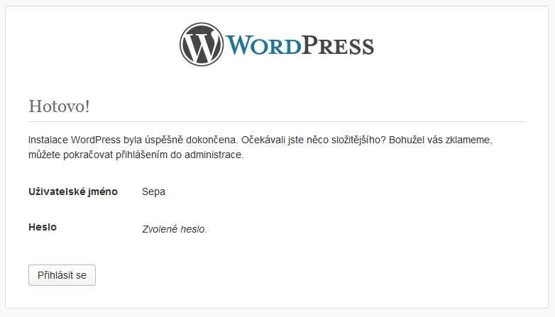 Instalace WordPress krok 6