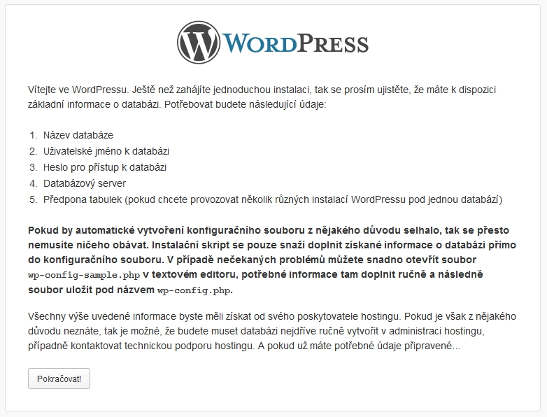 Instalace WordPress krok 2