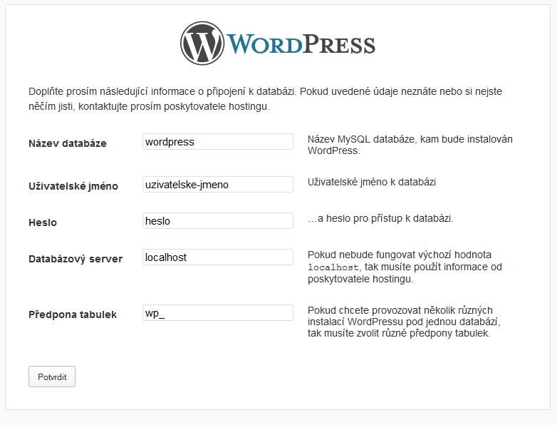 Instalace WordPress krok 3